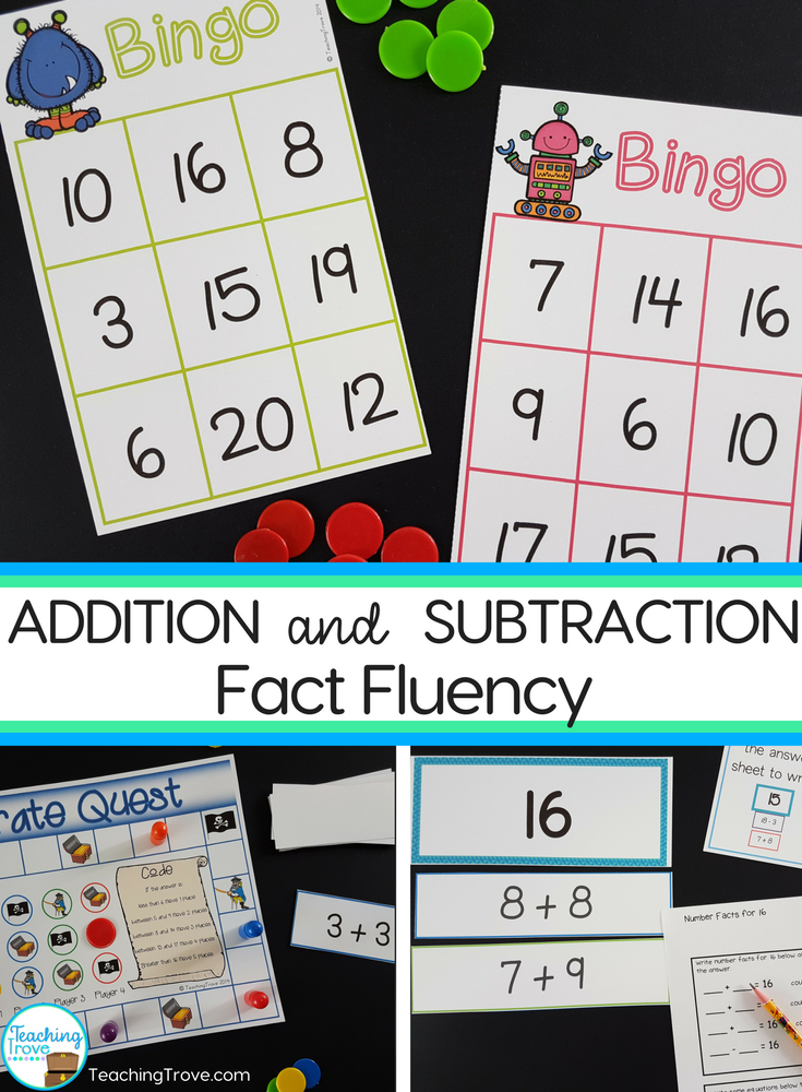 Play addition and subtraction bingo with the whole class and help them consolidate the mental math strategies for addition and subtraction