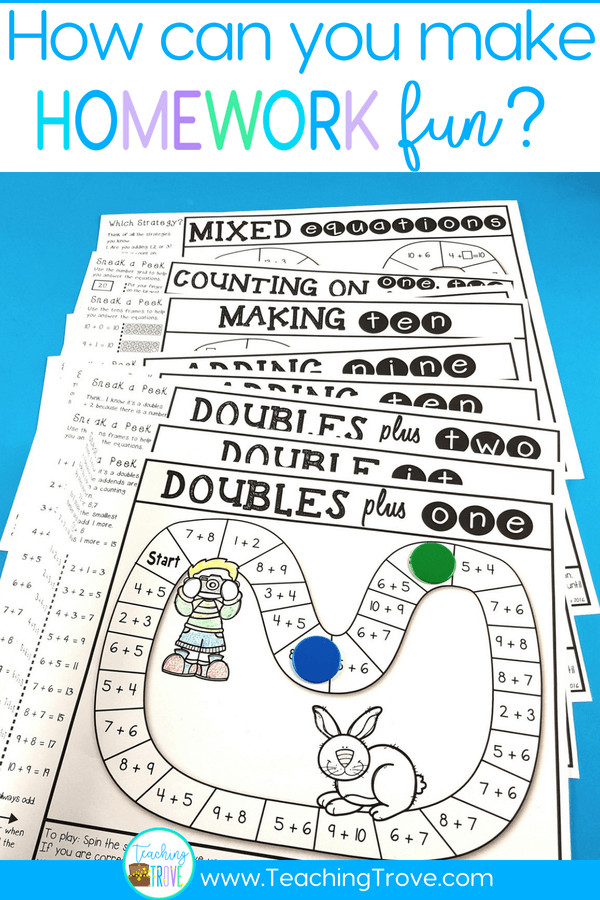 Make homework for your year 1 or second grade kiddos fun by sending home math strategy games. These math games are perfect for mental math practice. Such an easy way for students to learn math strategies for addition and subtraction and have fun doing it! #homeworkideas #additiongames #mathgames #additionstrategy #mentalmathstrategies #subtractiongames