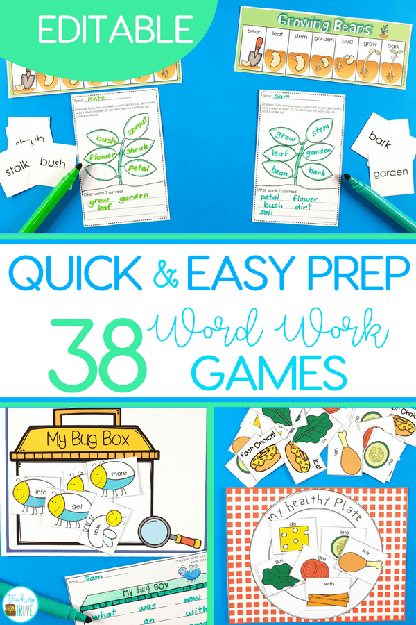 Sight word games that are editable are perfect for creating fun centers or stations for your kindergarten or first grade students. With 36 different games in this pack, you will have a wide range of sight word, phonics, spelling or word work games you can create in seconds! #sightwords #editablesightwords #kindergarten #spelling #wordwork #sightwordgames #spellinggames