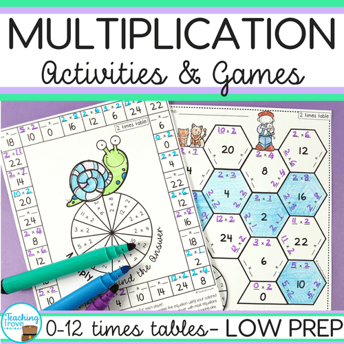 Visit my teachers pay teachers store to purchase the bundle of multiplication anchor charts, flip books, hands-on games and activities and printables.