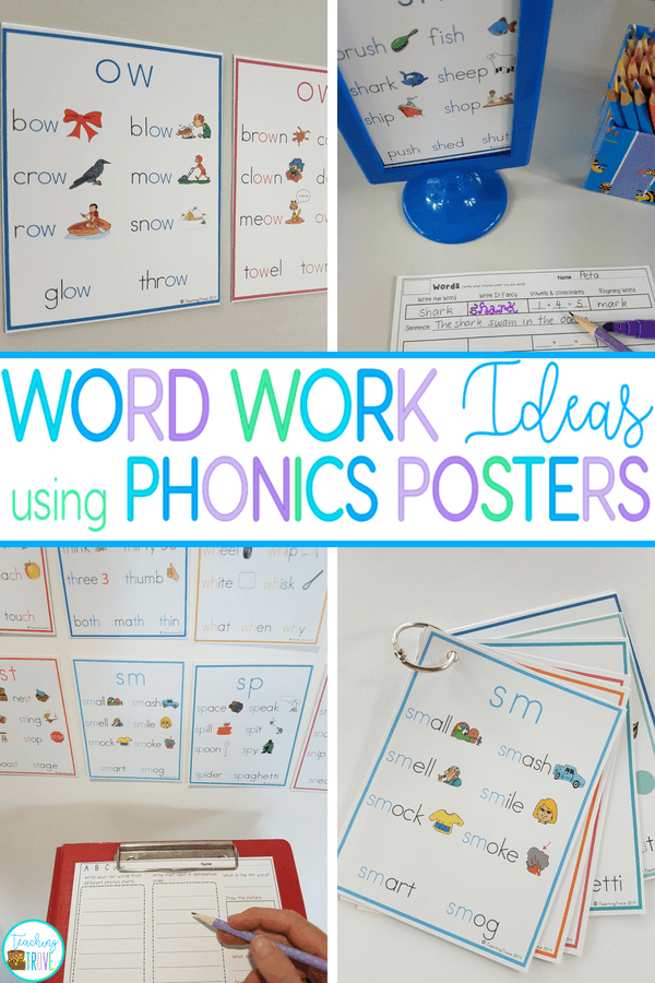 These word work activities using phonics posters make a great, easy prep literacy station. Perfect for your kindergarten of first grade students, they fit right in with daily five activities. Make phonics posters more than just a classroom display!