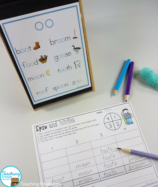 Use phonics posters and charts for word work. Copy the posters four to a page and place in a mini photo album. Add a recording sheet and you have a quick and easy word work station.