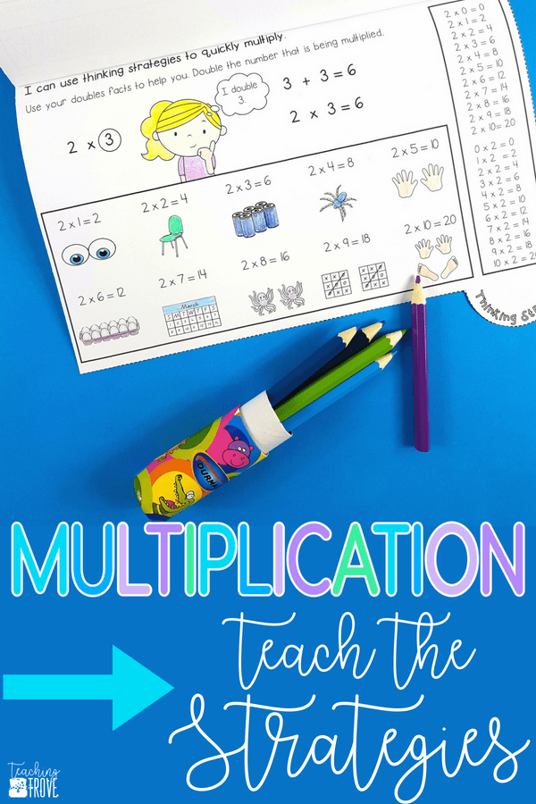 Teaching the multiplication strategies to your third grade students? Flip books make it easy to show arrays, skip counting, repeated addition, and mental math strategies for multiplication. #multiplication #multiplicationstrategies #thirdgrade #mentalmath #mentalmathstrategies #skipcounting #muliplicationactivities