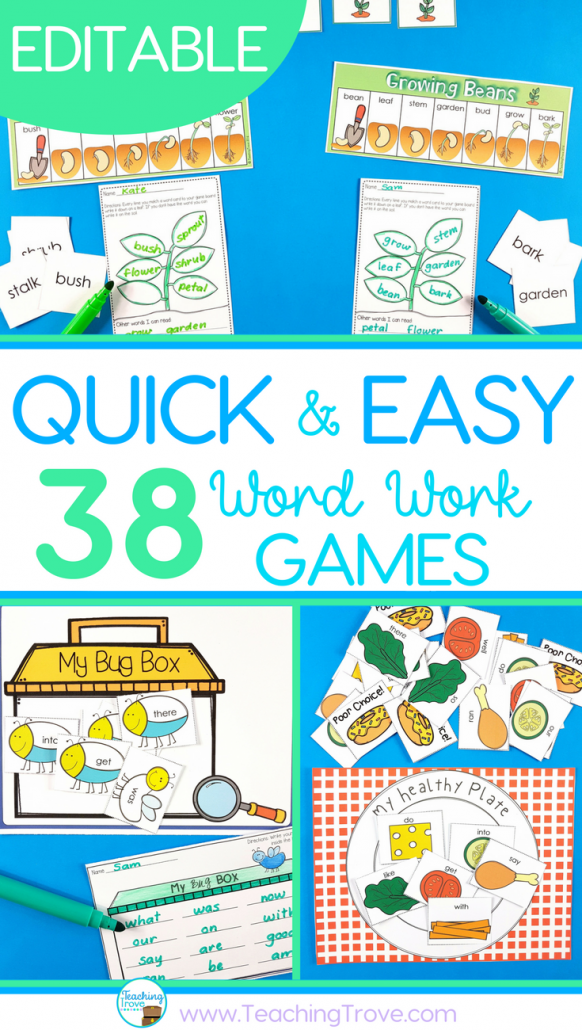 word word games can be used for sight words, spelling words, phonics, theme words.