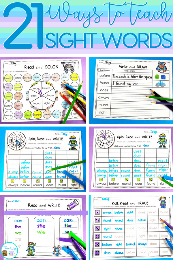 Editable sight word activities are a huge time saver. It\'s so easy to create a range of literacy centers, sight word practice activities, even homework sheets - all with the words you need for your kindergarten kids. #sightwords #sightwordsgames