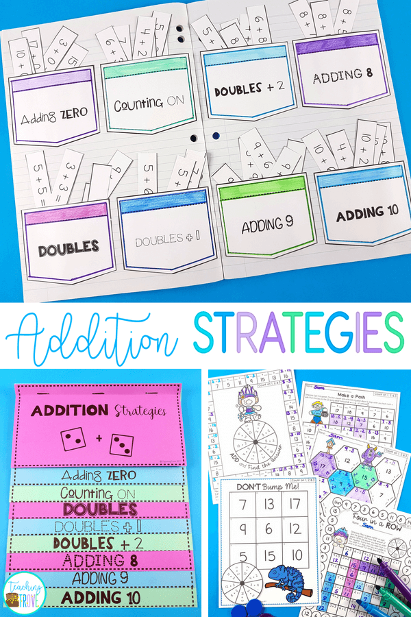 Teaching your year 1 and 2nd grade students addition strategies is so important for developing fact fluency in addition. When you use anchor charts, interactive notebook pages and lots of games, you make it so much fun. #addition #additiongames #additionstrategies #mathgames #factfluency