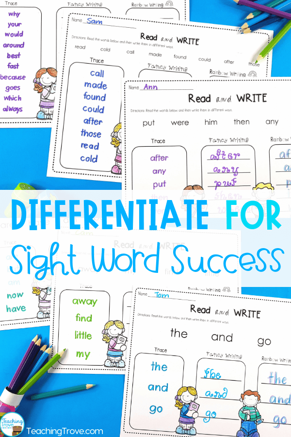 Sight word activities that are editable make it easy to create hands-on teaching resources that help even you struggling readers to learn their sight words. Perfect for differentiation, these fun printables are great to use in small groups and centers. #sightwords #kindergarten #sightwordactivities