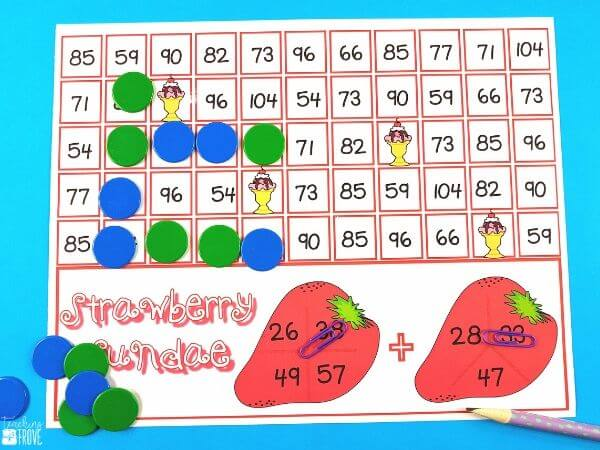 Using games to practice addition with regrouping