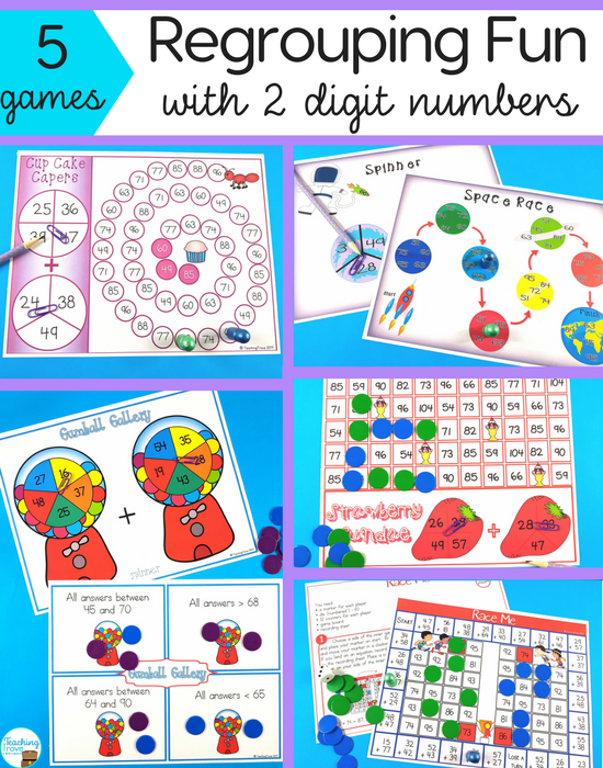 Make double digit addition with regrouping fun by using games.