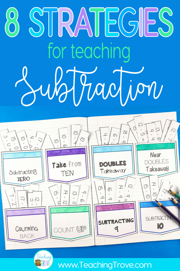 Teaching a range of subtraction strategies is important if we want our first grade and second grade students to have mastery over the subtraction facts to 20. #subtractionstrategies #subtractionfacts #strategies #subtraction #mathgames #subtractiongames