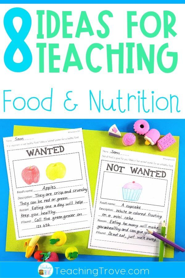 Teaching a food and nutrition unit to your kindergarten or first grade kids? This blog post has lots of ideas for teaching healthy eating including lessons on food groups, my healthy plate and fun literacy centers
