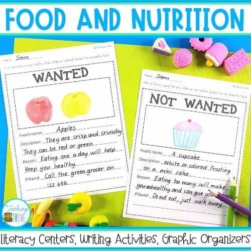 food and nutrition literacy centers for first and second grade.