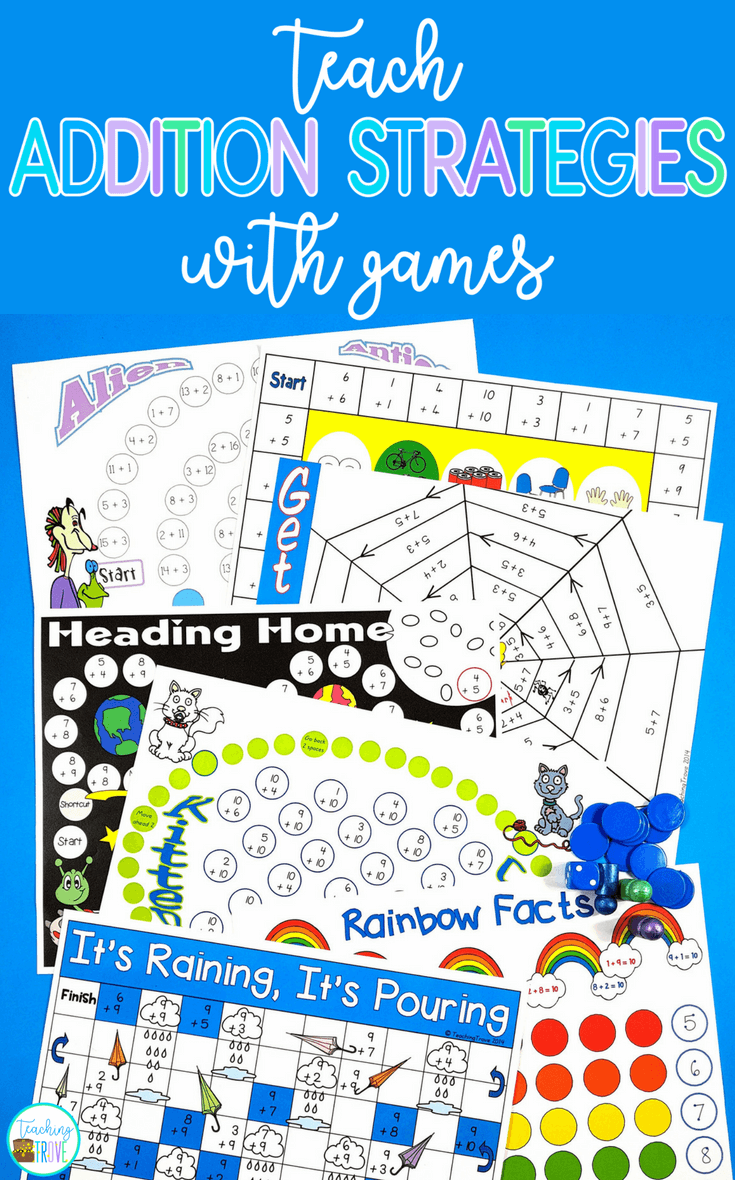Addition games provide hands-on practice for learning addition strategies. Engage your first grade students with fun math games that help improve fact fluency. Perfect for homeschoolers too!  #additionstrategies #additiongames