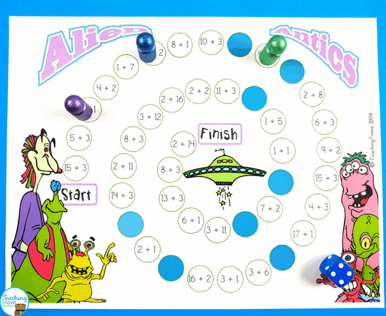 Addition games provide hands-on practice for learning addition strategies. Introduce the thinking strategy for practicing count ons, doubles, near doubles, making a ten and then engage your first grade students with fun math games that help improve their fact fluency. Perfect for homeschoolers too! #mathgames #additionstrategies