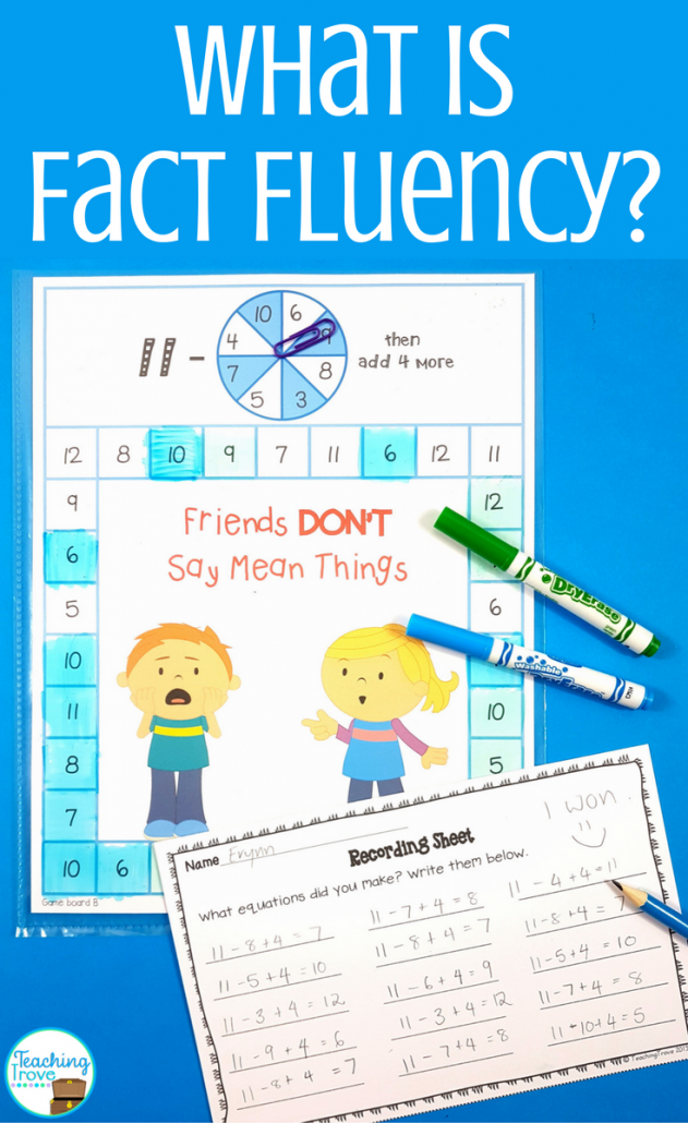 Improve fact fluency with daily practice of number facts. Addition and subtraction games are a great way to do this.