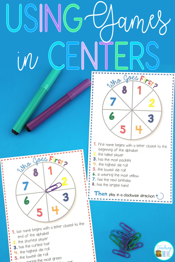 Using board games in centers