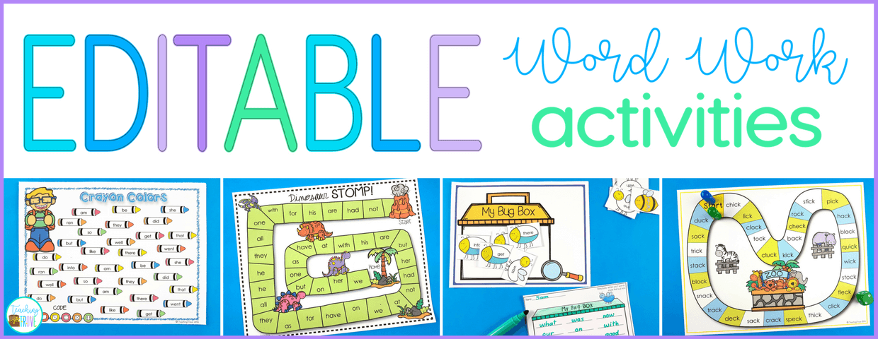 Editable sight word games make learning sight words fun.