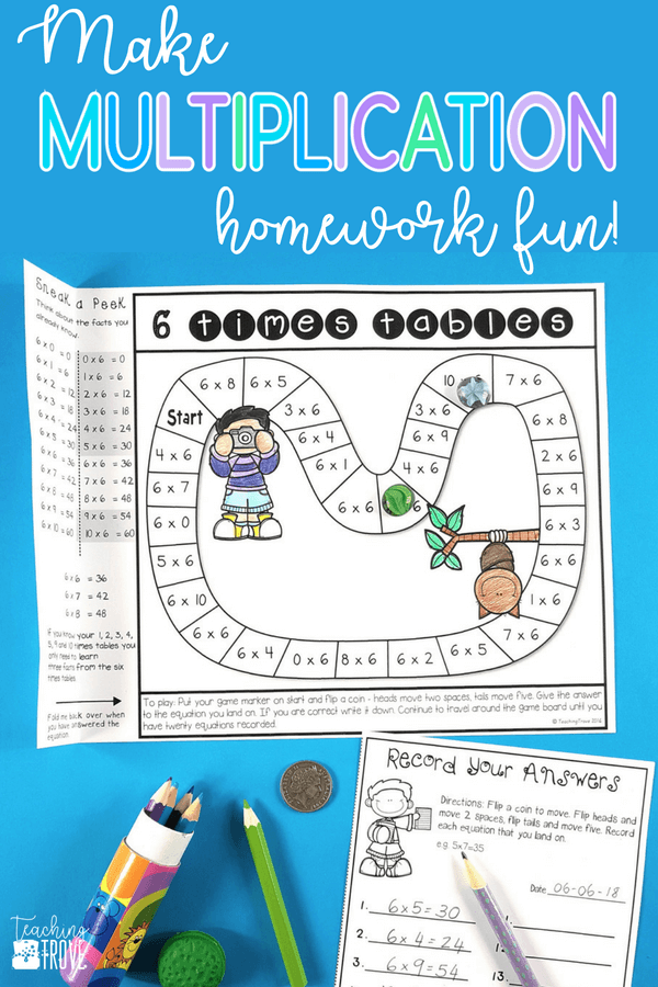 Make homework fun for your year 3 or fourth grade students by sending home multiplication strategy games. These engaging printables are perfect for mental math practice. Such an easy way for students to learn their multiplication facts and have fun doing it! #homeworkideas #multiplication #mathgames #multiplicationstrategy #mentalmathstrategies #multiplicationgames #multiplicationactivities