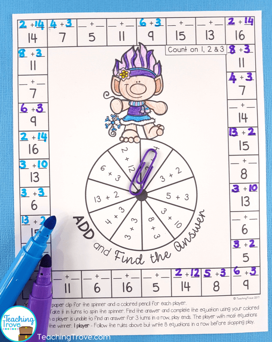Teach addition strategies to first grade students with addition strategy booklets and interactive notebooks, then let them have fun consolidating the facts with games and activities.