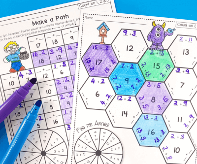 addition strategy printable games