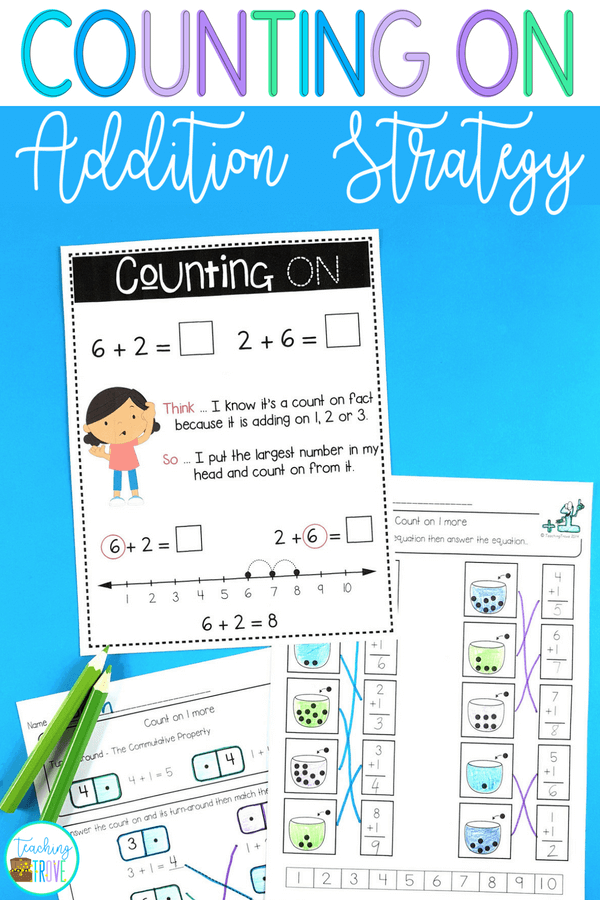 Counting on addition strategy games and activities are perfect for your first grade students. Teach the strategy with the anchor chart and use engaging worksheets and fun hands on games to provide practice. #countingon #math #mathgames #additionstrategies #firstgrade