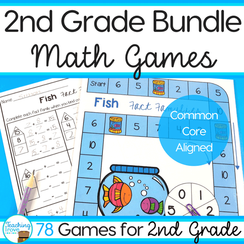 Second grade math centers are perfect for creating differentiated work stations that cover the second grade math standards. Consolidate place value, counting, time, problem solving, number facts, measurement and multiplication arrays. Easy prep for you, lots of math fun for your kids. #secondgrade #mathcenters #workstations #additiongames #secondgrademathcenters