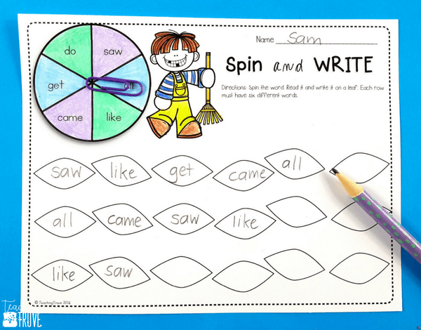Sight word activities that are editable make it easy to create hands on teaching resources that help even your struggling readers to learn their sight words. With this editable sight word pack you can quickly make 21 literacy centers that target the sight words your class need to learn – all with a fun fall theme. These fun printables are perfect for small groups and centers.