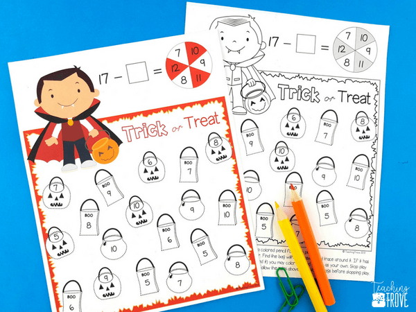 Number fact fluency games help build math minds. Your students will have so much fun while using their addition and subtraction skills to add or subtract 2 or 3 numbers. Perfect for math centers or early finishers. Use as partner games or for independent practice. #mathgames #additionstrategies #secondgrade #factfluency #subtractiongames #halloweengames #halloween