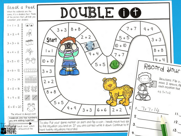 Make homework fun for your year 1 or second grade students by sending home math strategy games. These math games are perfect for mental math practice. Such an easy way for students to learn math strategies for addition and subtraction and have fun doing it! #homeworkideas #additiongames #mathgames #additionstrategy #mentalmathstrategies