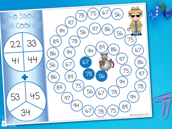 Adding two digit numbers (no regrouping) is so much fun with games. Perfect for centers and small groups, your first grade and 2nd grade students are going to love adding tens and ones with these addition games. #mathgames #twodigit #twodigitnumbers #secondgrade #additiongames