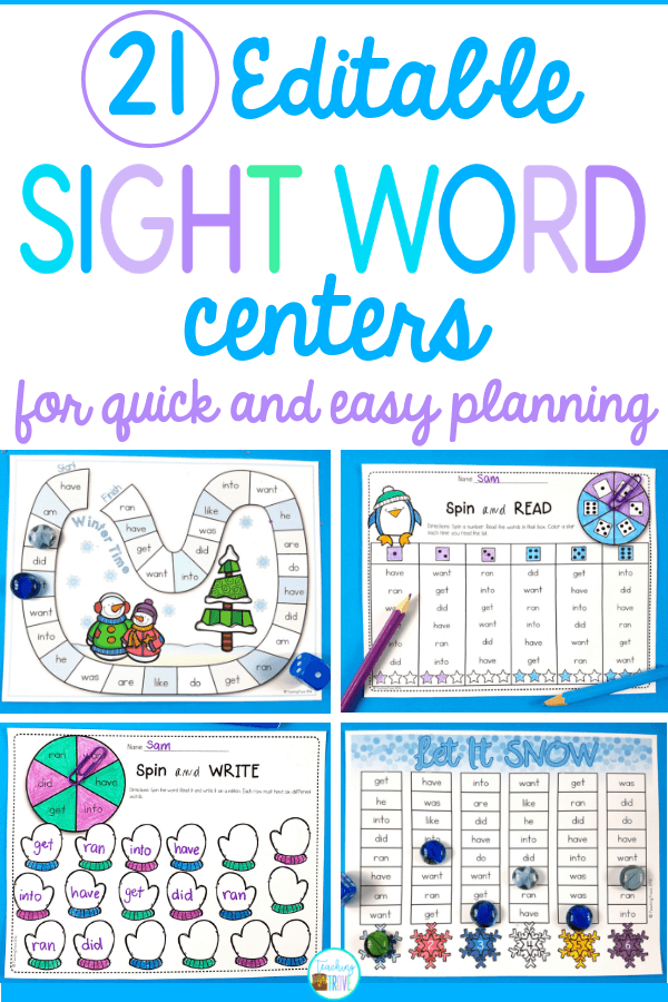 Sight word activities that are editable make it easy to create hands-on teaching resources that help even your struggling readers to learn their sight words. With this editable sight word pack you can quickly make 21 literacy centers that target the sight words your class need to learn – all with a fun winter theme. These fun printables are perfect for small groups and centers. #editablesightwords #sightwords