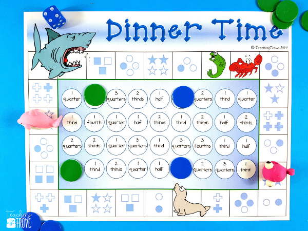 Fraction games are a fun way for your students to consolidate their understanding of fractions. Perfect for math centers and small groups. Great for homeschoolers too! #fractiongames #fractions