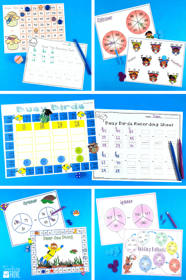 Two digit subtraction with regrouping can be so much fun with games. Perfect for centers and small groups, your 2nd grade students are going to love learning to regroup with these subtraction games. #mathgames #subtractionregrouping