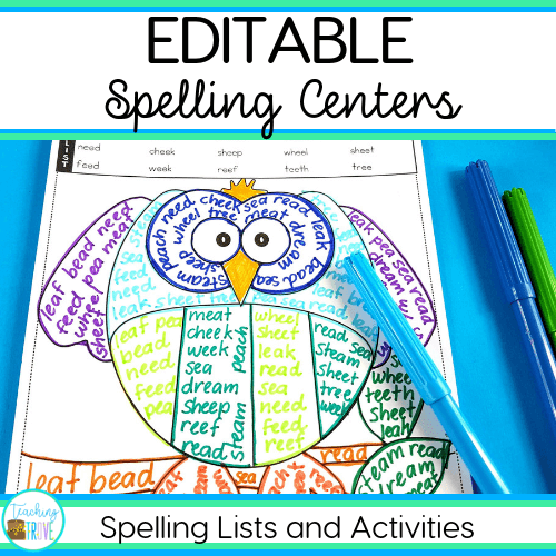 Quickly make spelling centers for your first, second or third grade students. With a choice of 49 activities that you can edit to include the spelling words your students need, you'll have spelling activities ready to use in no time. Use the included spelling list ideas or your own. Add the spelling visual to the center and have your students mastering their spelling with ease.