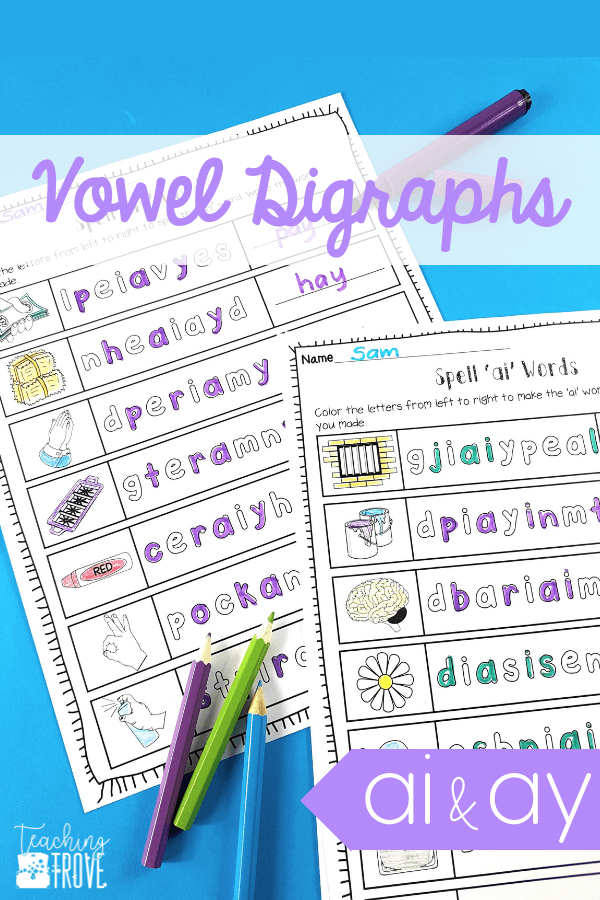 Looking for engaging vowel teams worksheets to help your kindergarten, first grade or second grade students learn the ai and ay spelling pattern? These pages get kids spelling and writing words with vowel teams in them. Introduce the vowel team with the posters and then consolidate them with the worksheets and activities