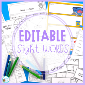 Editable sight word activities for every classroom theme