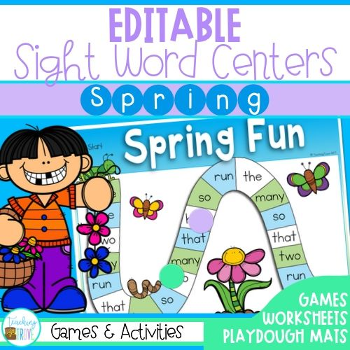 Editable spring sight word pack