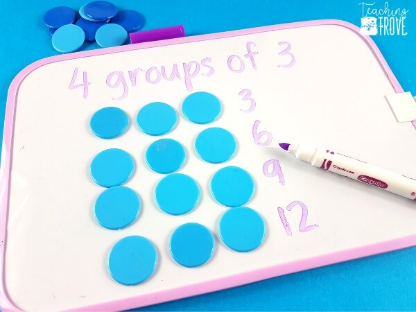 Making arrays and groups of helps build an understanding of multiplication.