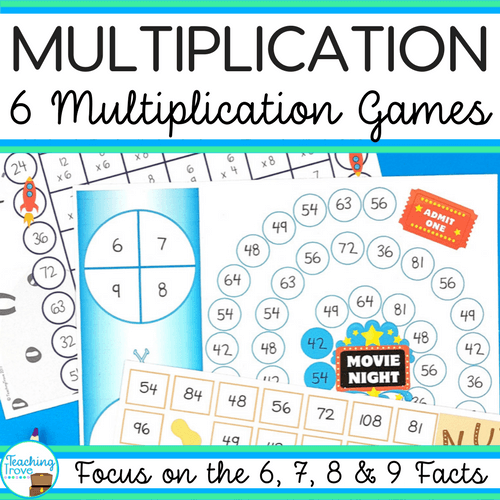 The multiplication facts can be consolidated with this pack of 6 games. While the games cover all the multiplication facts from 0 to 12 they have a strong focus on those tricky 6, 7, 8 and 9 times tables.