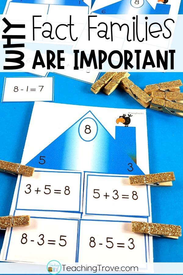 Teaching fact families to your first grade and grade 2 students is made easier if you follow the CRA model. Help your students generate addition and subtraction equations using concrete and semi-concrete materials. Then introduce them to fact family houses. Perfect for math centers or early finishers, these fact family activities can be used as partner games or for independent practice. #Addition #Subtraction #FactFamilies