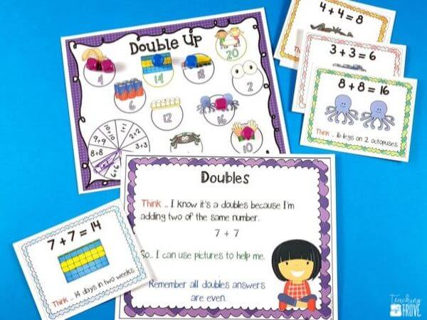 Addition games provide hands-on practice for learning mental math strategies. Introduce the strategy with an anchor chart then engage your first-grade students with fun math games that help improve their fact fluency. Perfect for homeschoolers too!