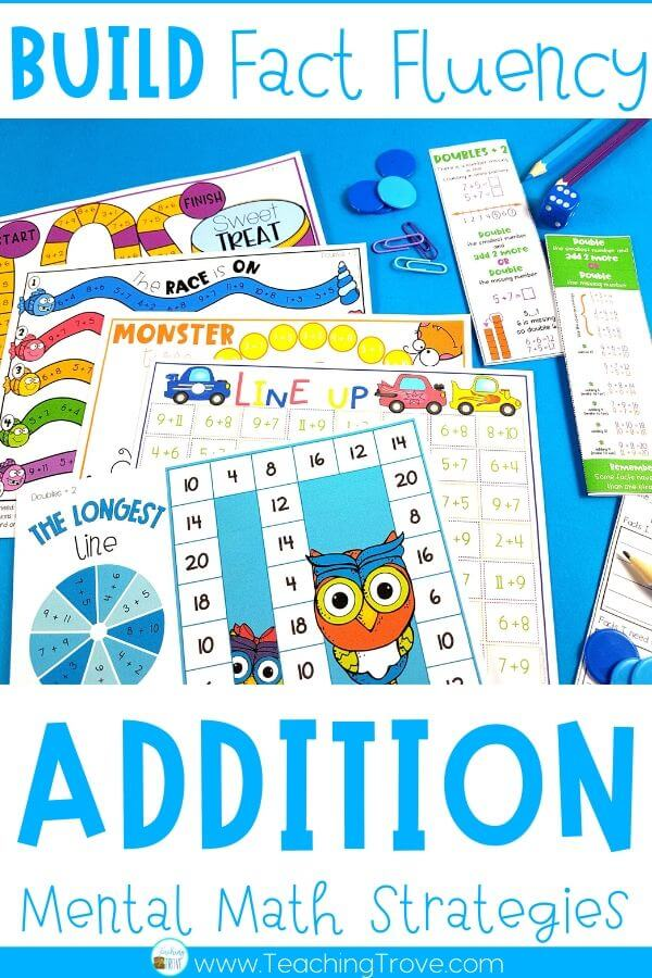 Addition games provide hands-on practice for learning addition strategies. Introduce the strategy with an anchor chart then engage your first grade students with fun math games that help improve their fact fluency. Perfect for homeschoolers too!