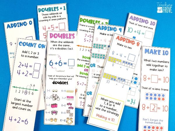 Addition strategy cards to use with the games